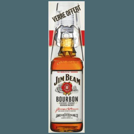 BOURBON JIM BEAM WHITE + 1 GLAS - EN ETUI