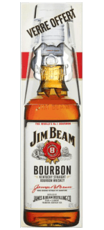 BOURBON JIM BEAM WHITE + 1 GLAS - EN ETUI