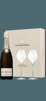 LOUIS ROEDERER - BRUT PREMIER - CHAMPAGNER - GESCHENKSET + 2 CHAMPAGNERGLÄSER