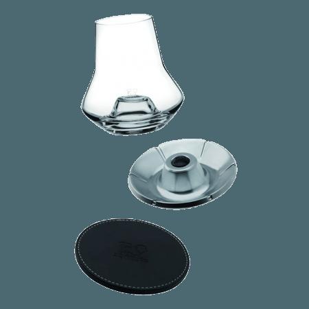 WHISKY DEGUSTATIONS SET - GLAS + LEDER UNTERSETZER + KÜHLER - PEUGEOT