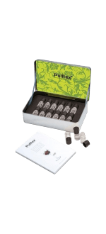 SINNES-SCHULE - AROMABAR MIT 12 WEISSWEIN AROMEN + NOTIZ - WHITE WINE ESSECES SET - PULLTEX