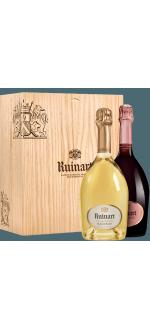 CHAMPAGNER RUINART - BLANC DE BLANC + ROSE - GESCHENKSET 2 Fl.