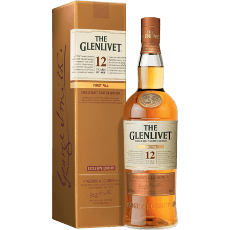 THE GLENLIVET FIRST FILL 12 JAHRE ALT - EN ETUI