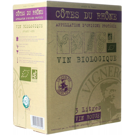 BAG-IN-BOX - WEINSCHLAUCH 3L - CÔTES DU RHÔNE BIO - VIGNERONS ARDÉCHOIS